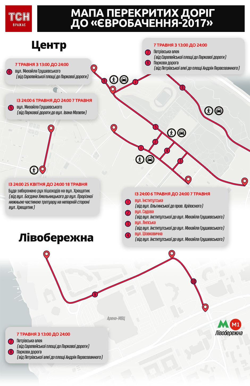 У Києві перекрили низку вулиць для Євробачення-2017
