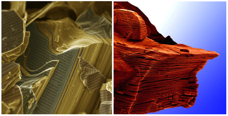 Ліворуч: частинка максену після витравлення та трохи «фотошопу».Праворуч: шарові структури матеріалу нагадують скелі Арізони