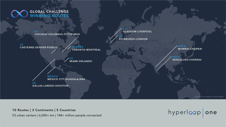 Карта Hyperloop у світі