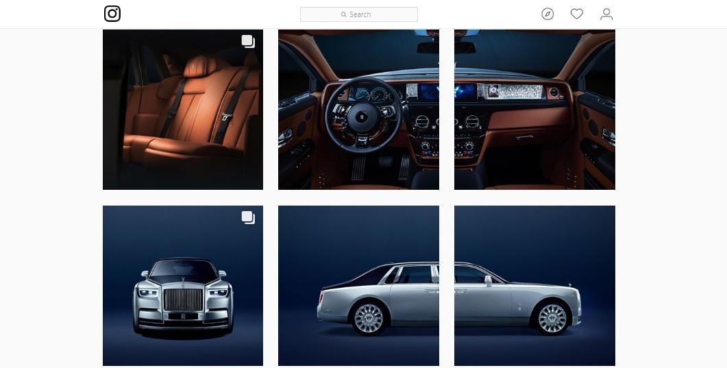 Pryklad fotokolažu v Instagram vid Rolls-Royce