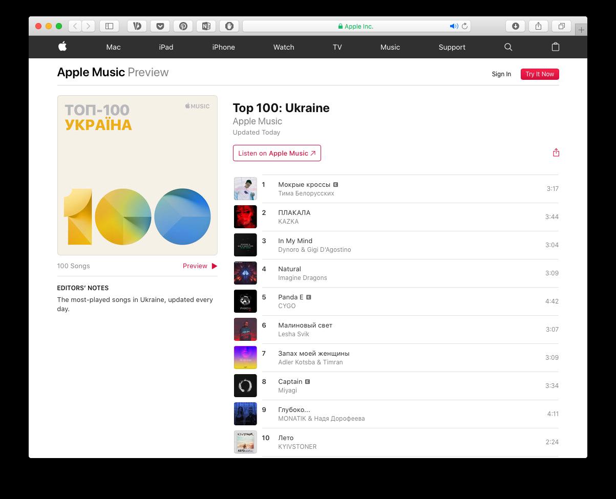 Apple Music запустила музичні чарти: в українському ТОП-100 нагорі — KAZKA та Kyivstoner
