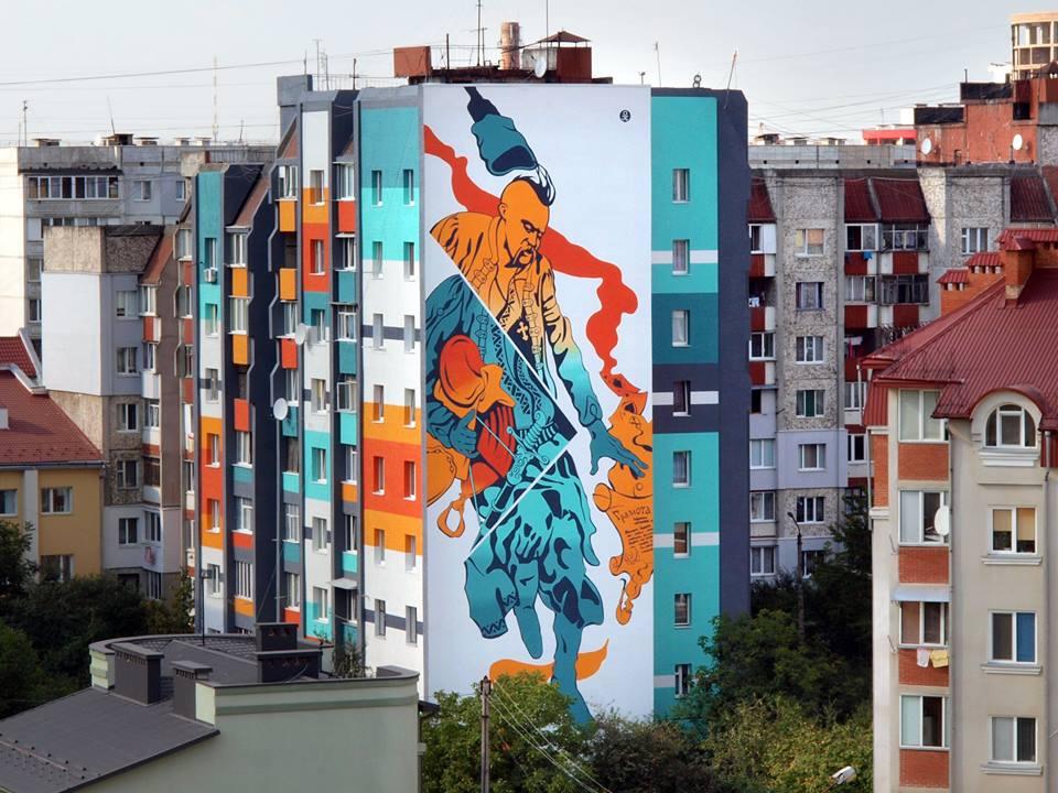 Ivano-Frankivśk. Mural z kozakom