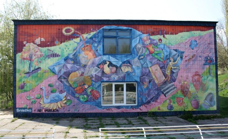 """Kam'janeć-Podiľśkyj. Mural na stini pansionatu """"Podillja"""""""