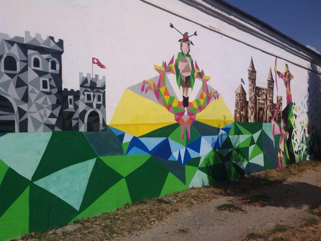Kam'janeć-Podiľśkyj. Mural, prysvjačenyj družbi miž Ukraїnoju ta Švejcarijeju