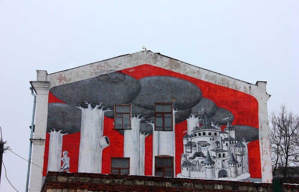Kam'janeć-Podiľśkyj. Sjurrealistyčnyj mural