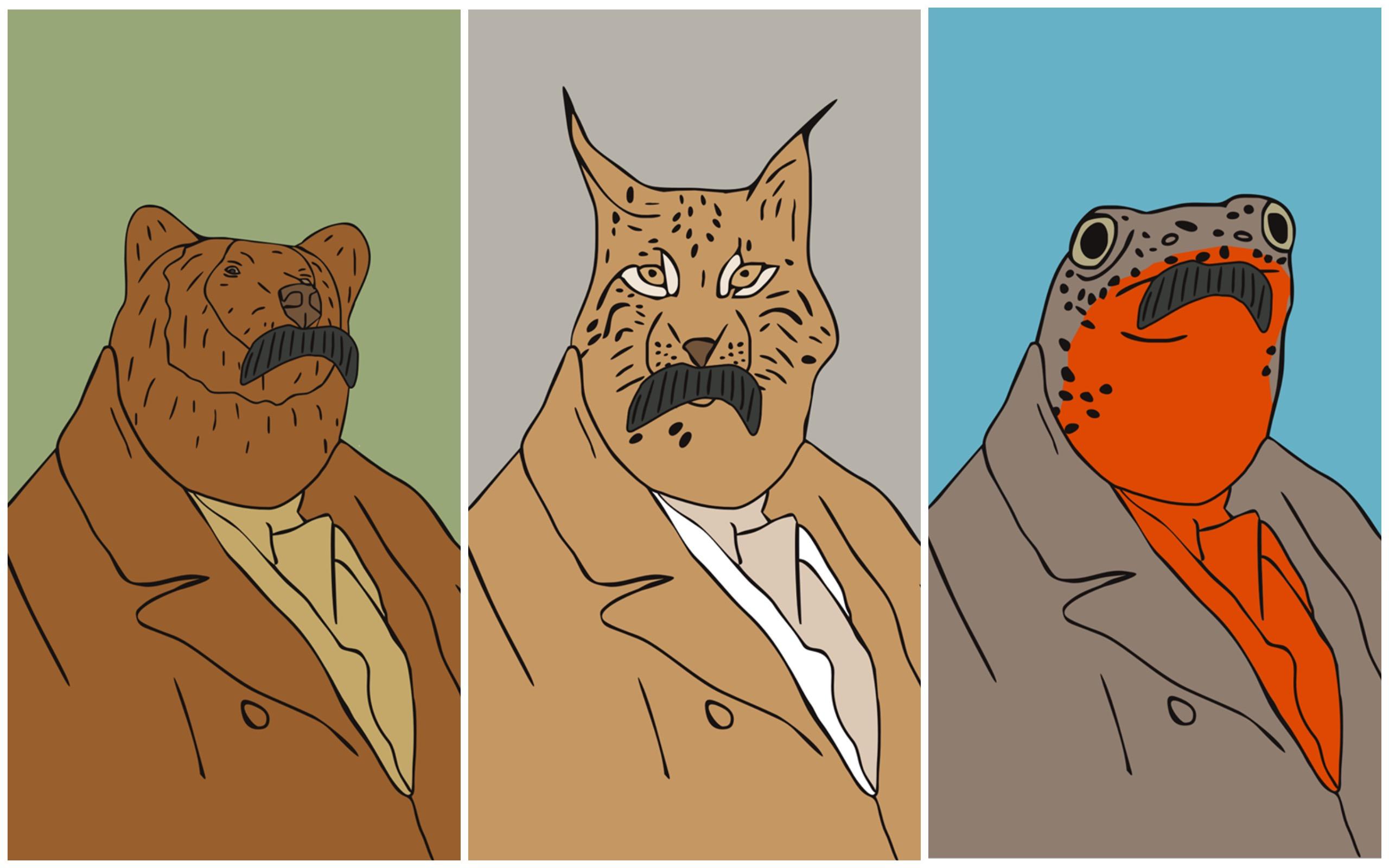 Червонокнижні тварини із шевченківськими вусами на нових постерах Грехова