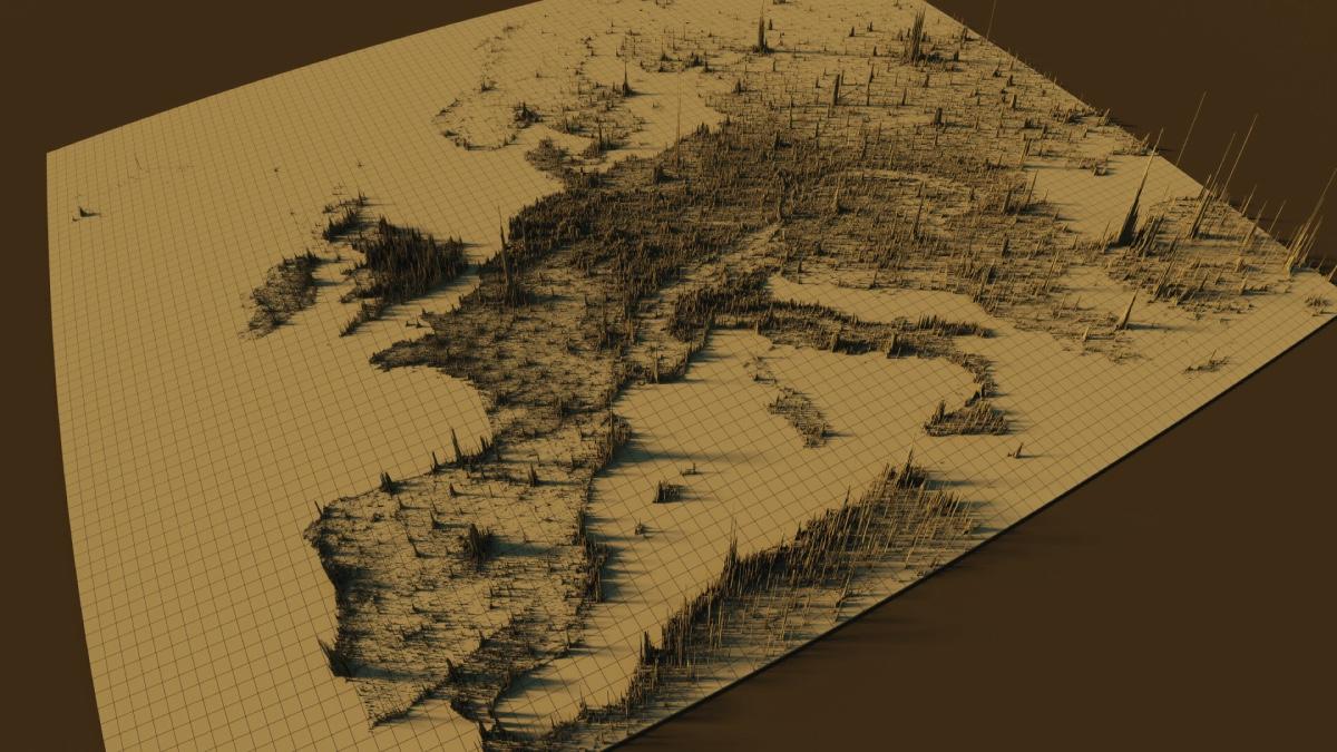 🗺 У мережі створили 3D мапу щільності населення Європи